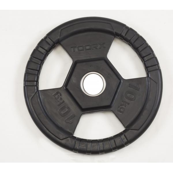 TOORX  Disco ghisa gommato 10 Kg TRI GRIP        Pesi e Manubri